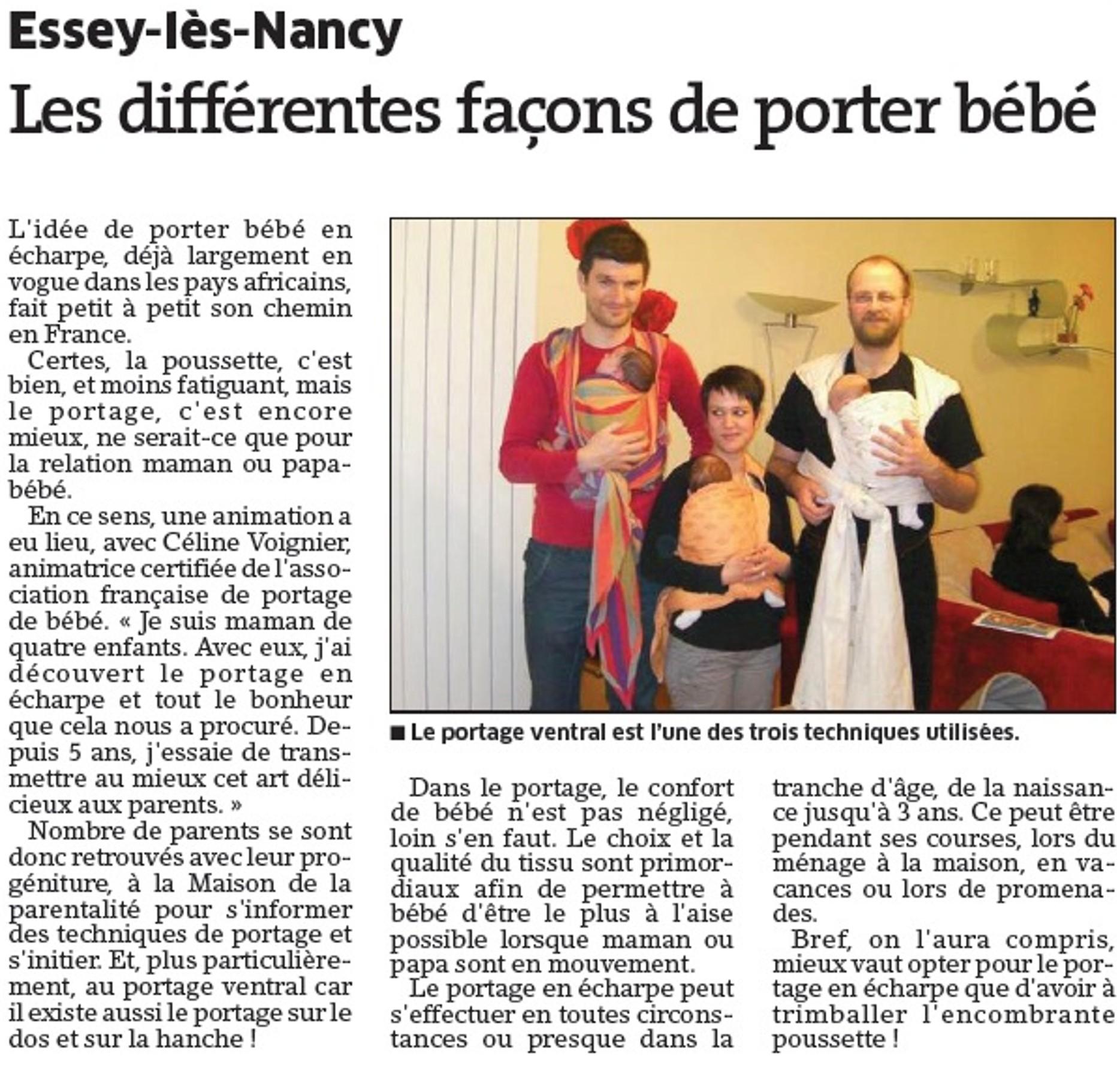 Les différentes façons de porter bébé - Essey-lès-Nancy